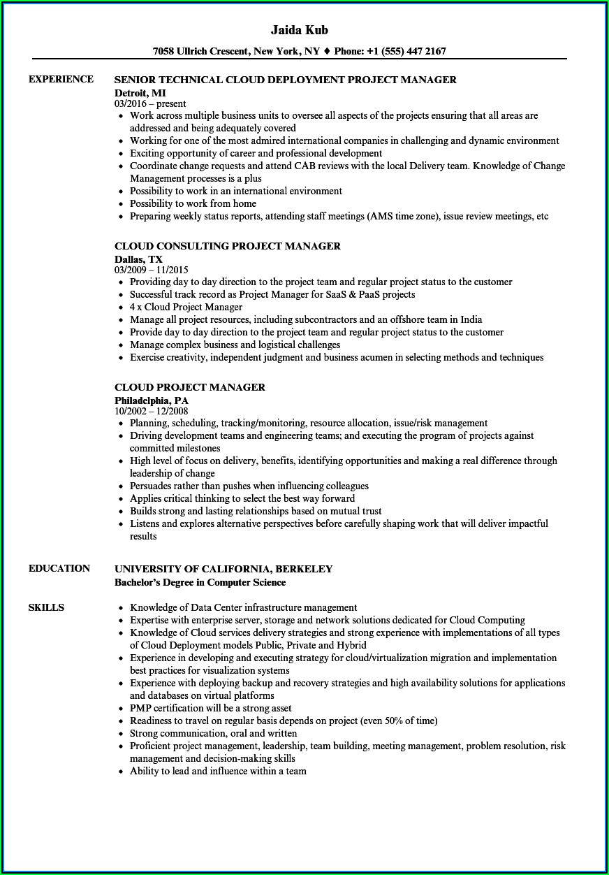 Data Center Migration Project Manager Resume