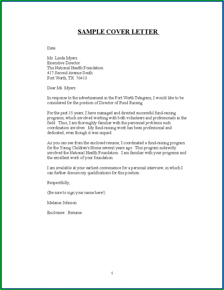 Download Free Sample Resume Cover Letter
