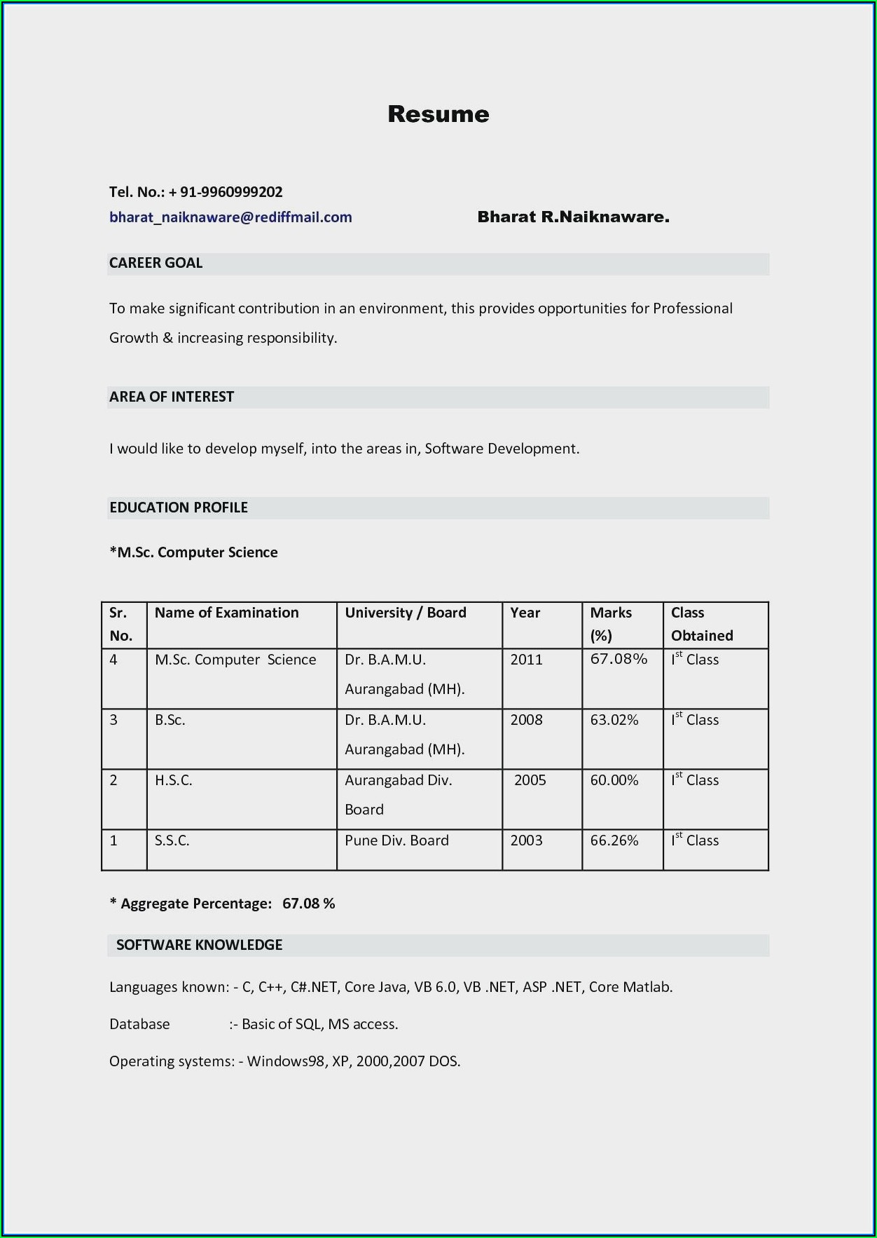 Download Free Sample Resumes For Freshers