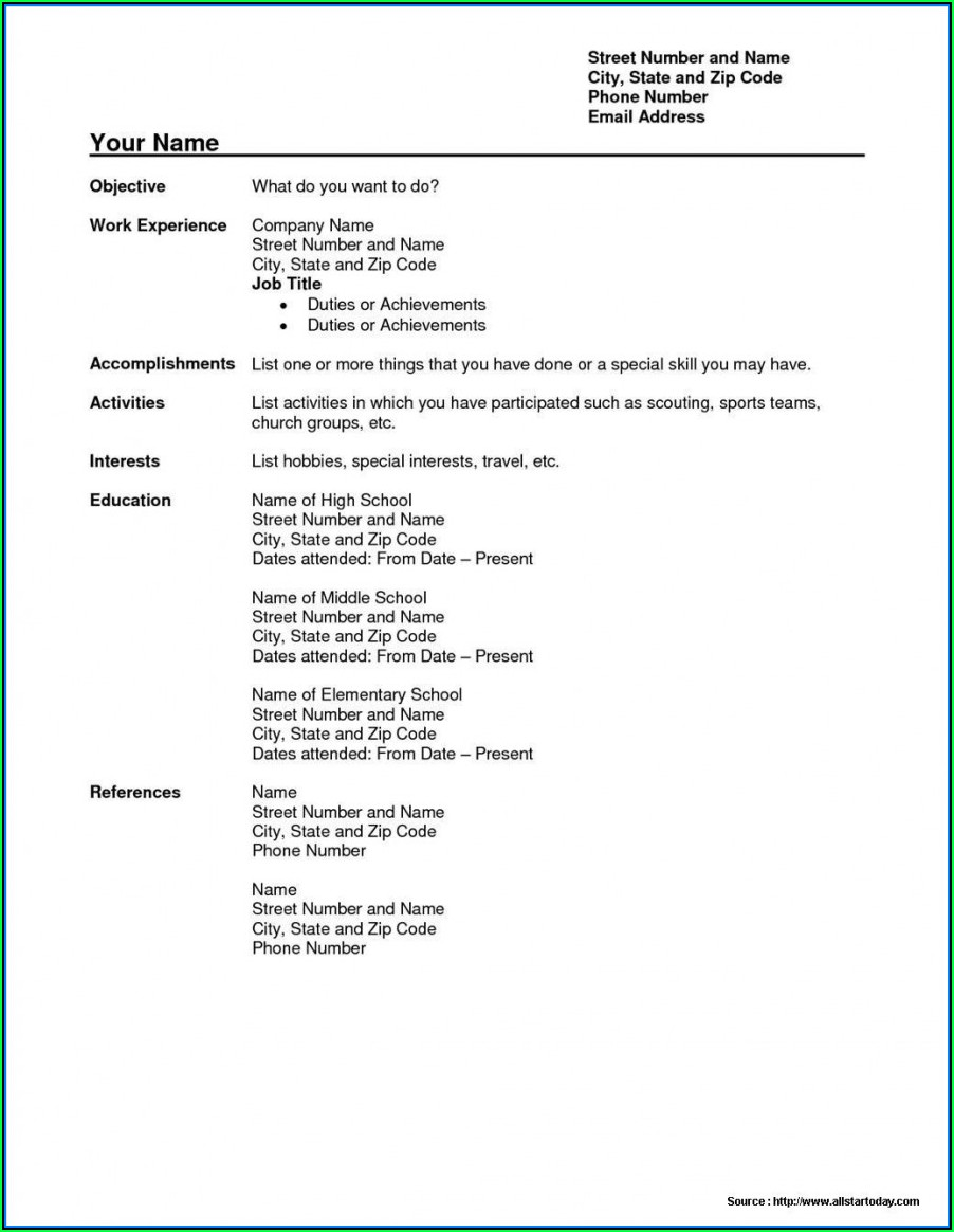 Download Simple Resume Format Pdf