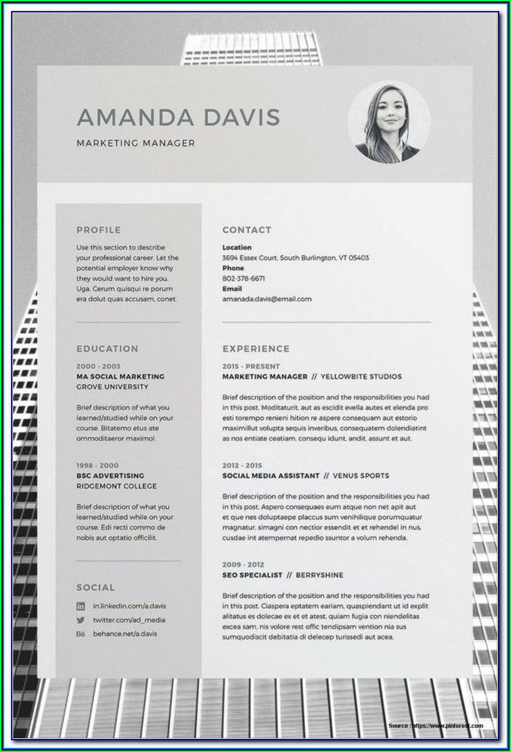Downloadable Editable Resume Template