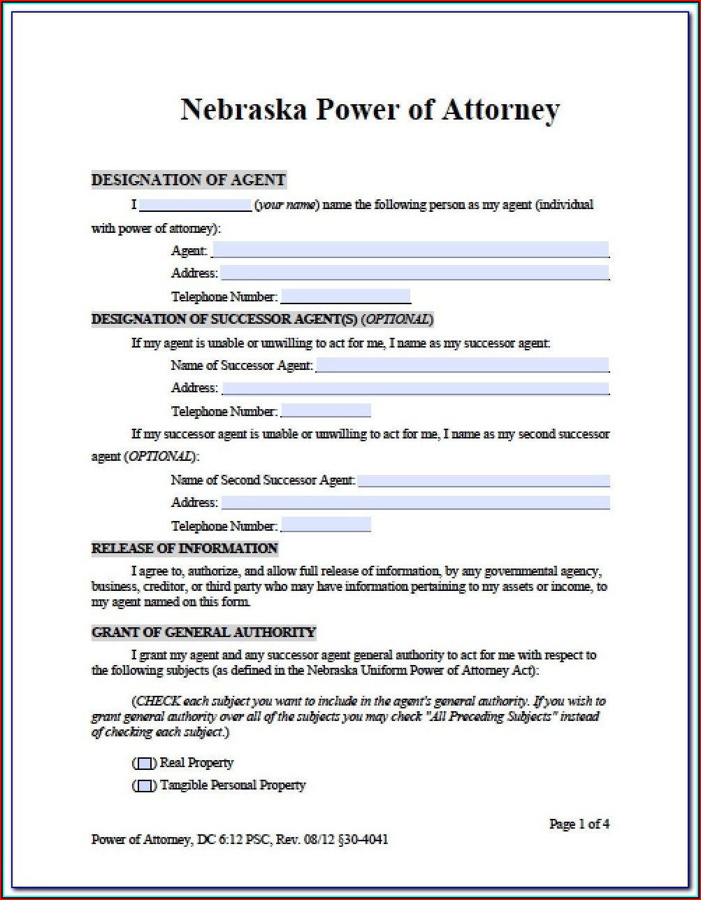 Durable Financial Power Of Attorney Form California