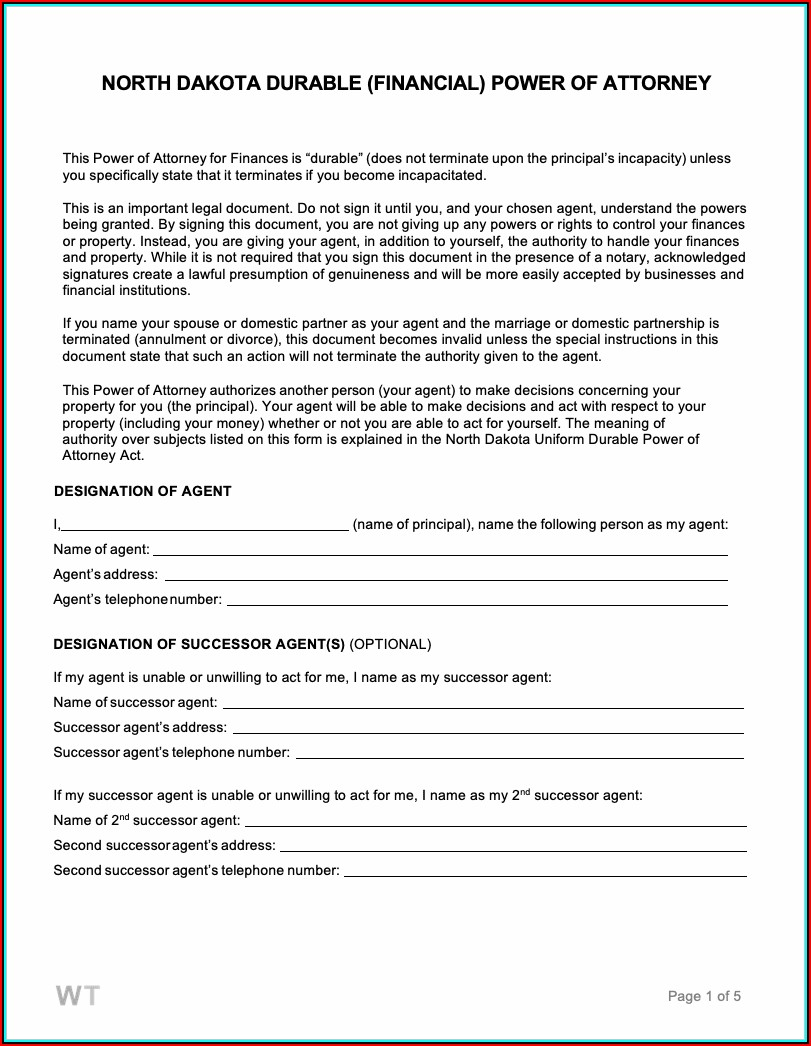 Durable Financial Power Of Attorney Form