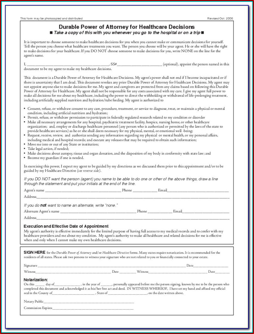 Durable Power Of Attorney For Medical Form