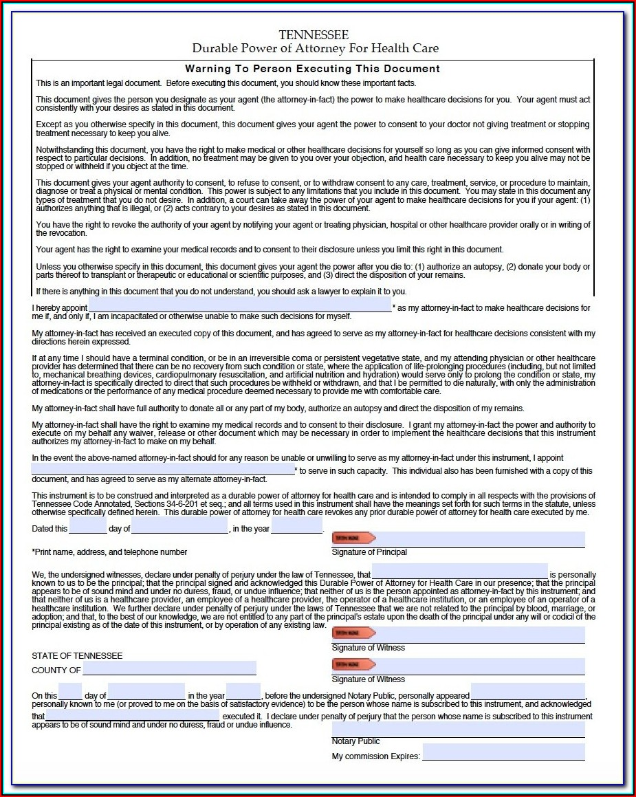 Durable Power Of Attorney Tennessee Form Free