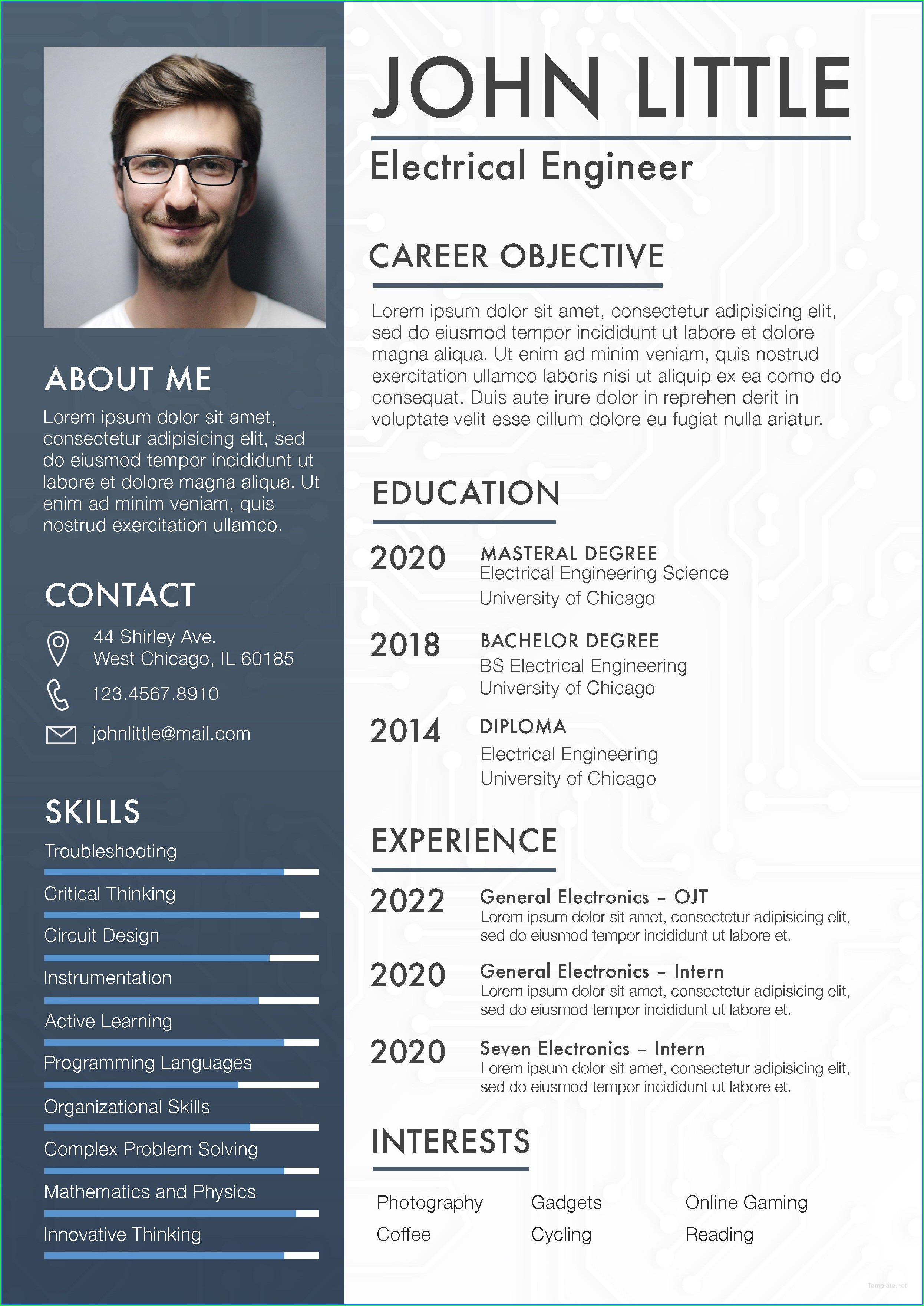 Electrical Engineer Fresher Resume Template