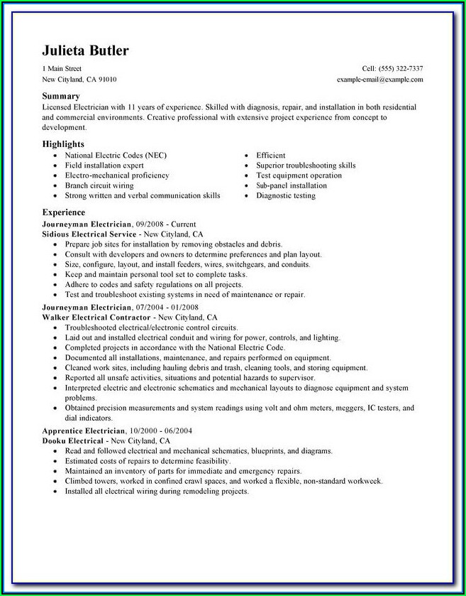Electrical Engineer Resume Template Microsoft Word