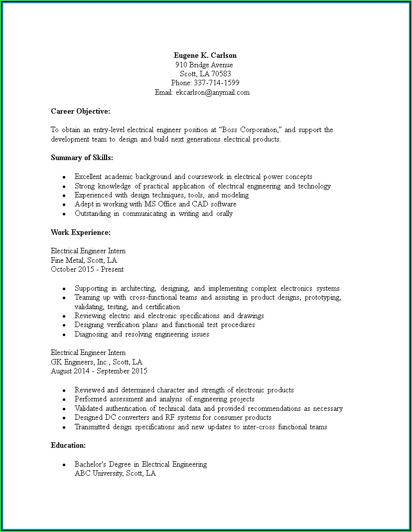 Electrical Engineering Resume Template