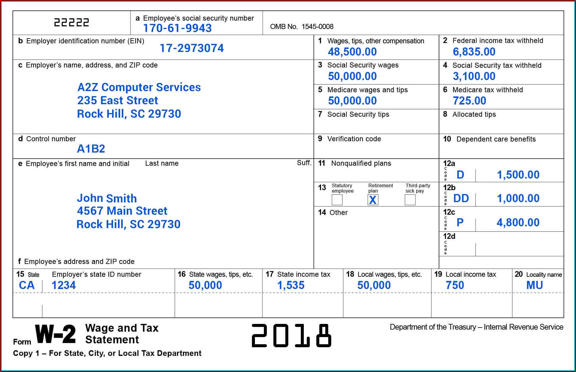Employer W2 Form 2018