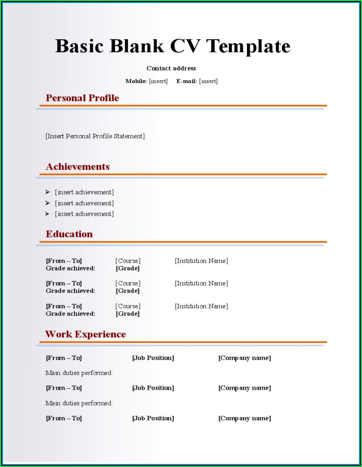 Empty Cv Template Doc