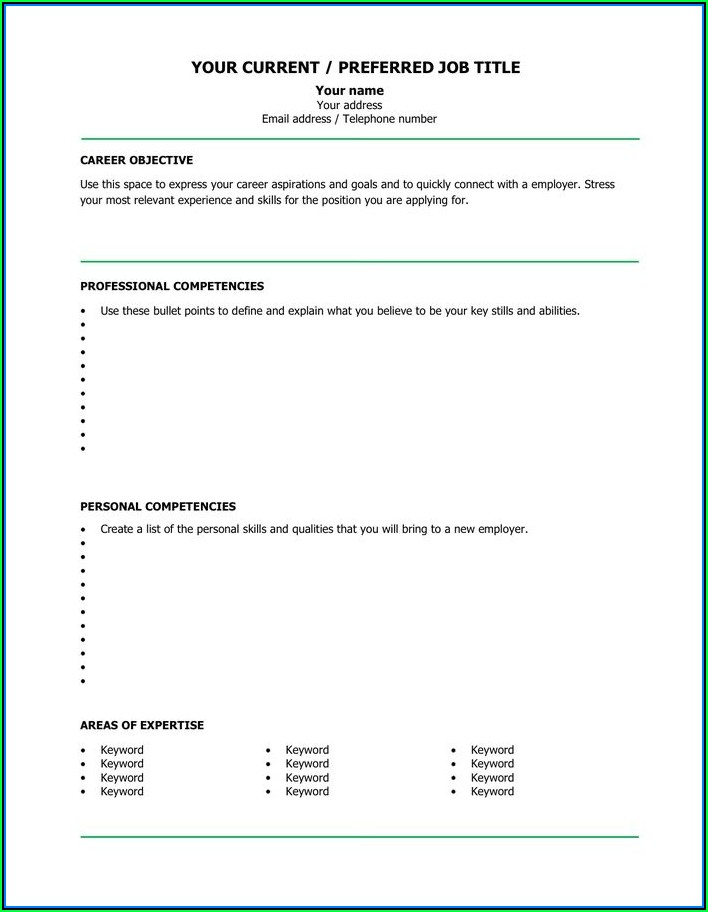 Empty Cv Template Word
