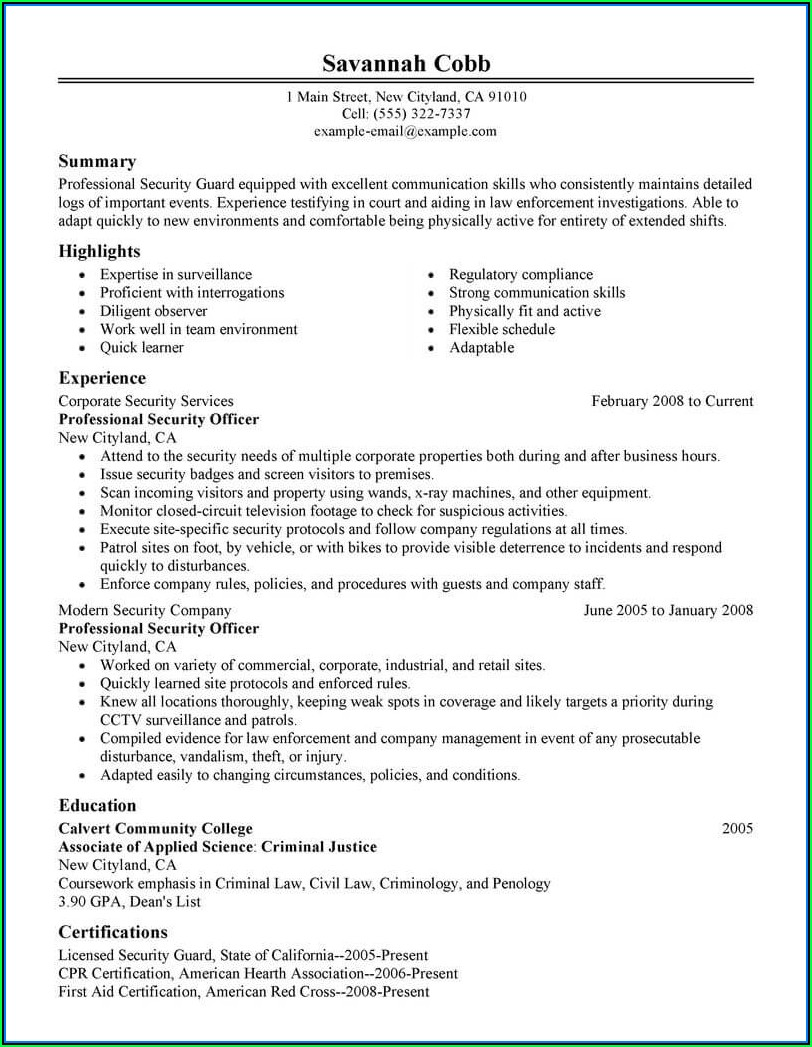 Entry Level Security Guard Resume Templates