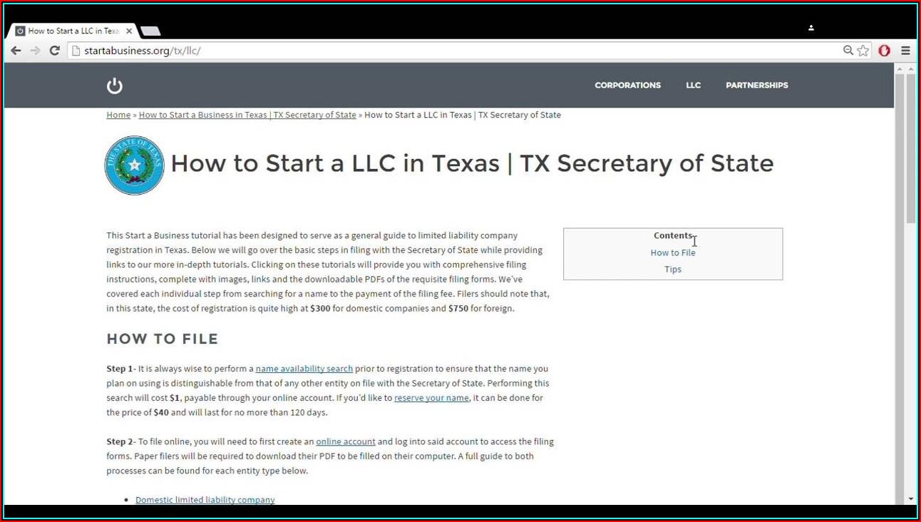 Establishing A Llc In Texas