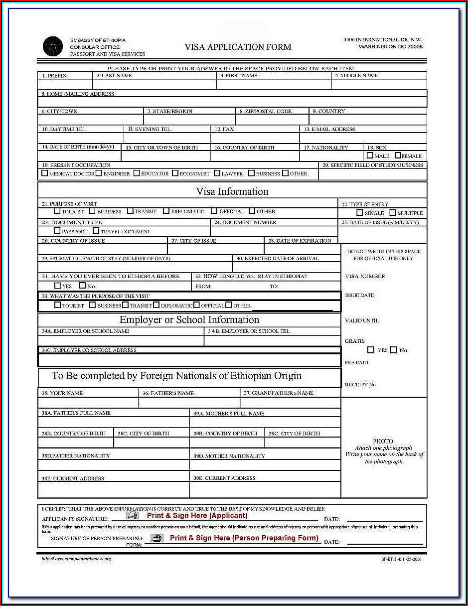 Ethiopian Consulate Visa Application Form Dubai