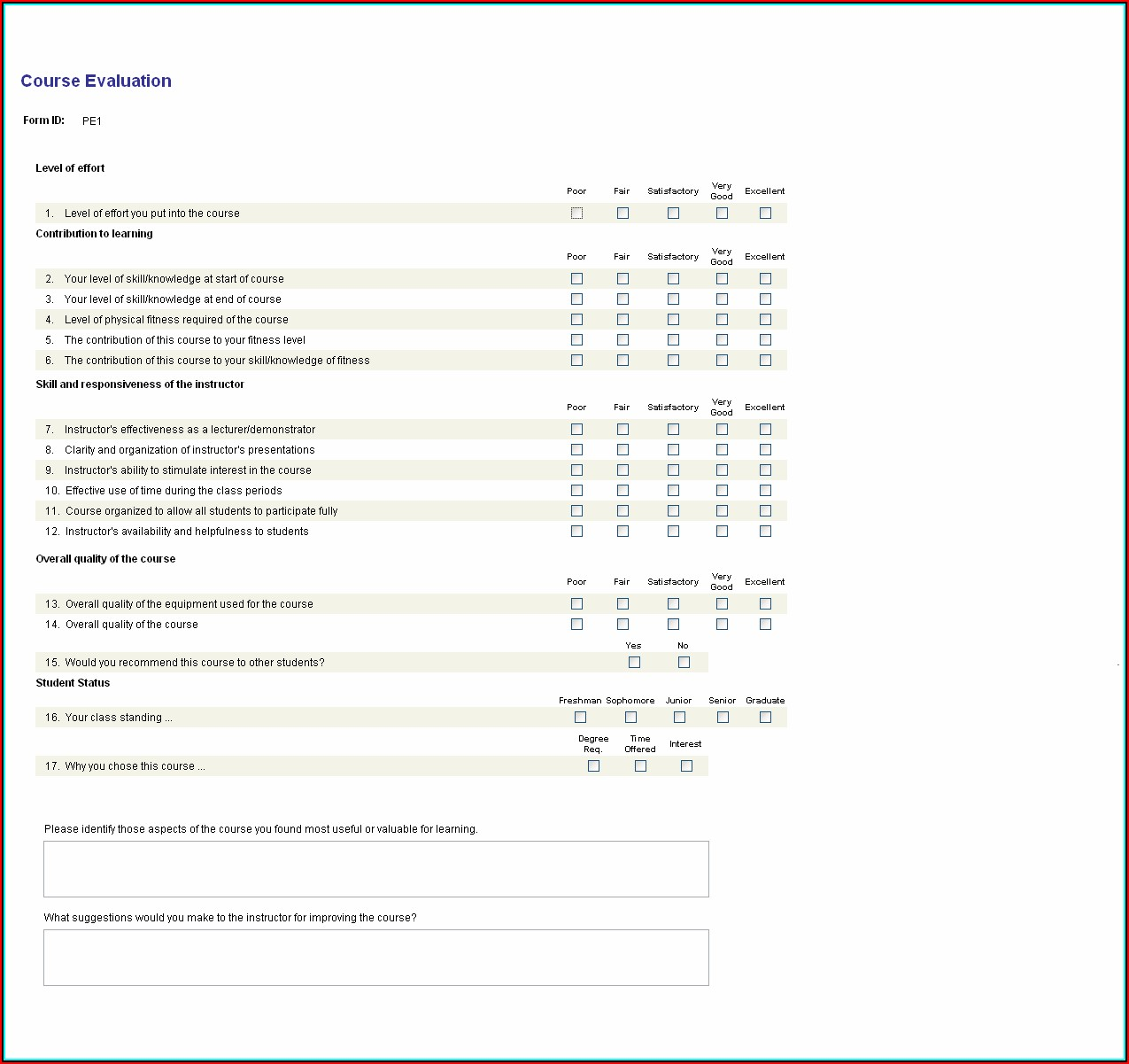 Example Of Course Evaluation Form