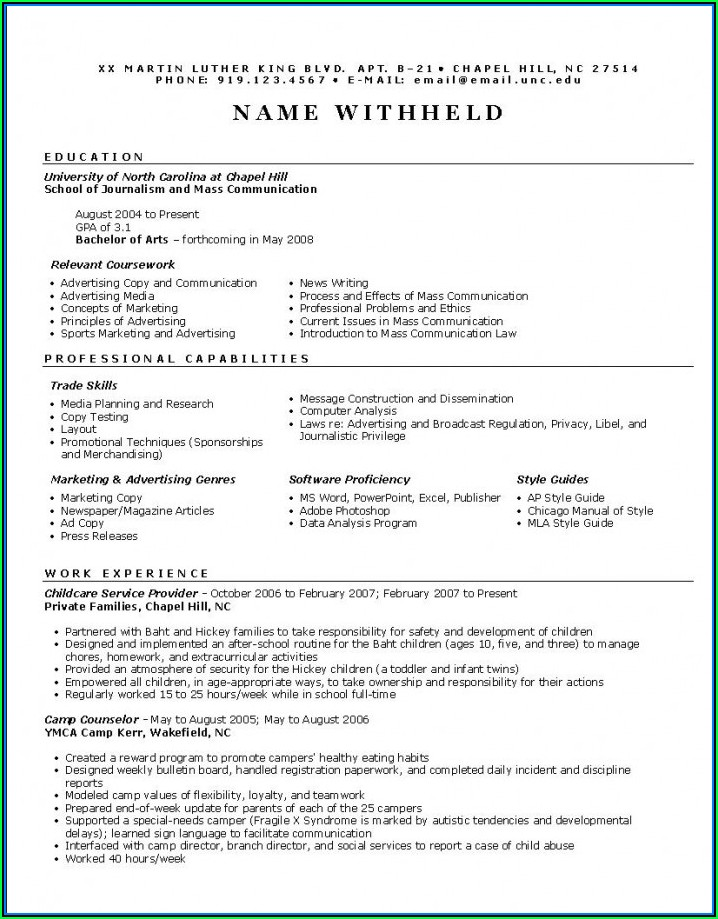 Example Of Marketing Resumes