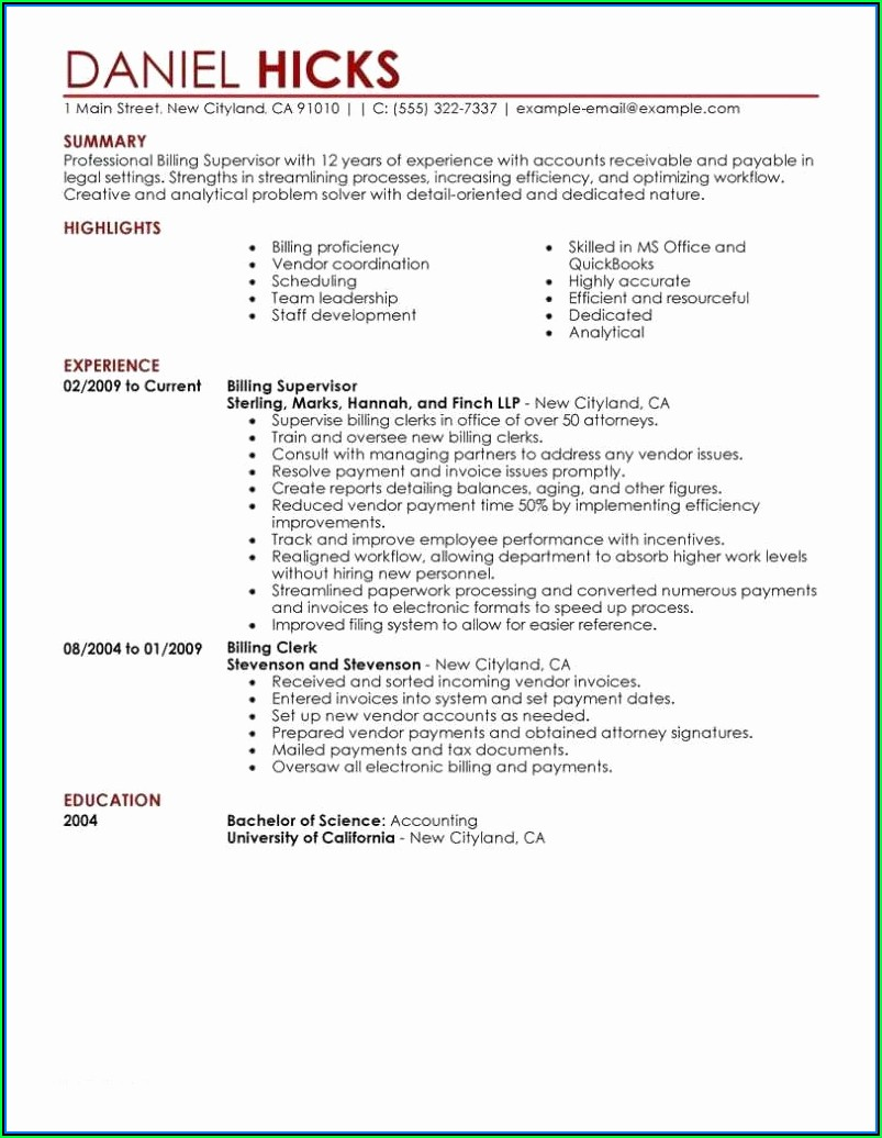 Example Of Resume Templates