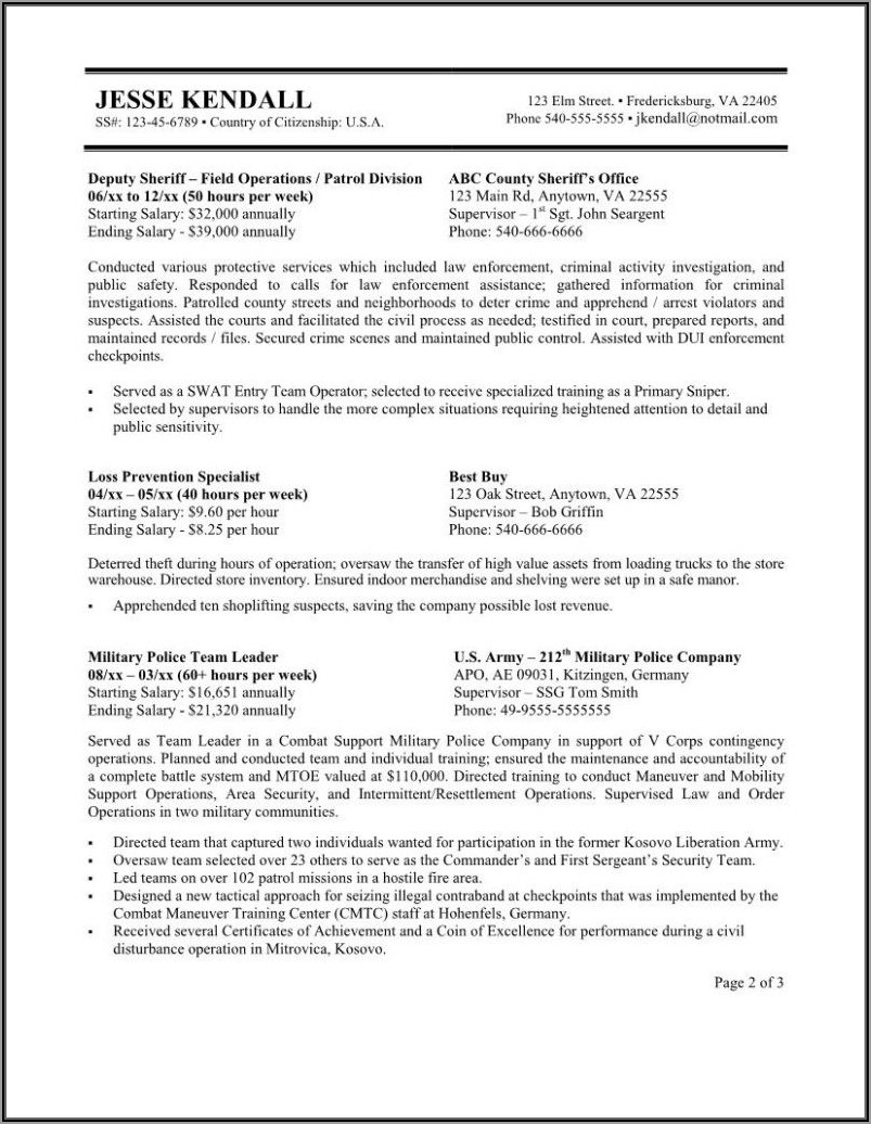 Examples Of Federal Resume Format