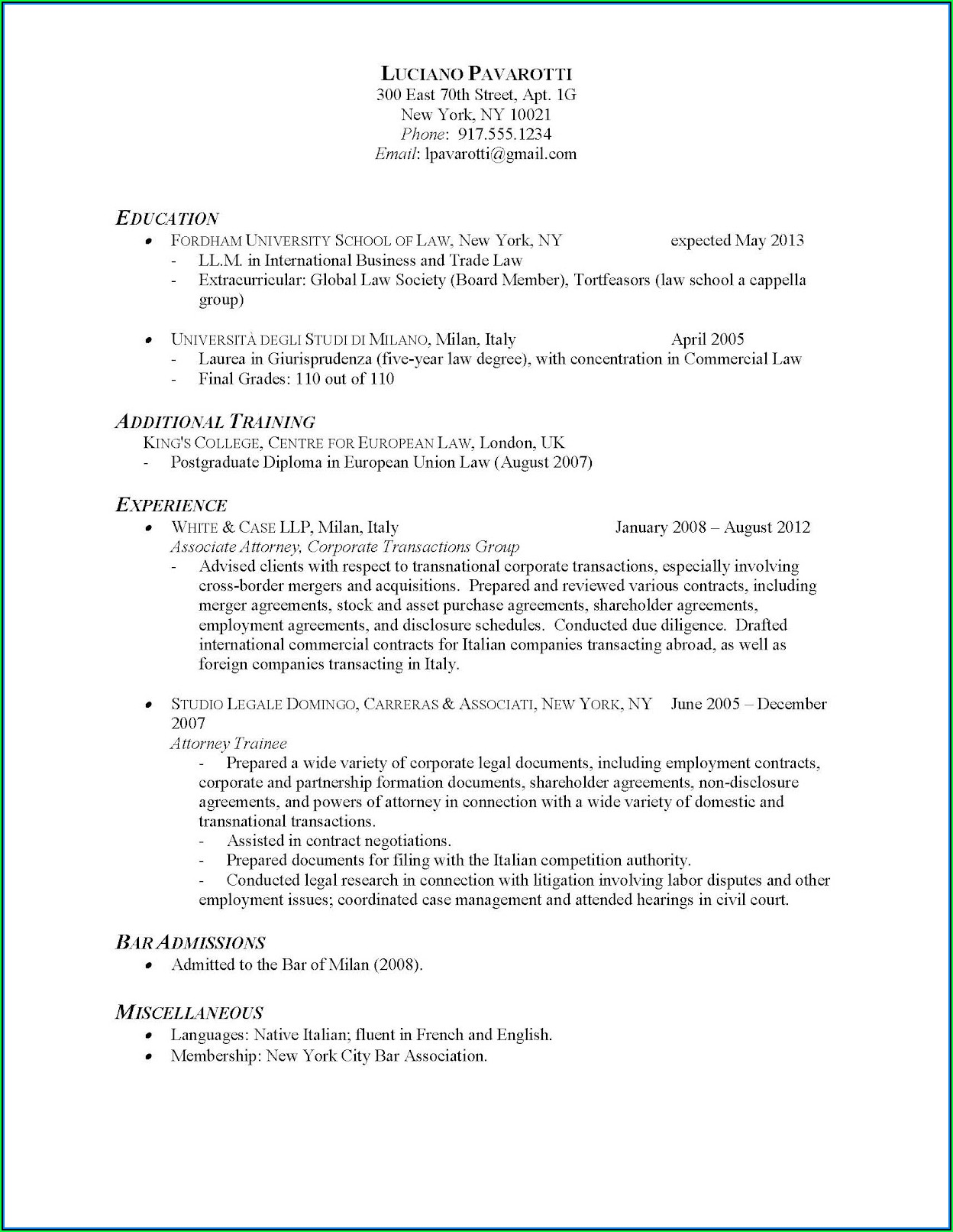 Examples Of Simple Resume Formats