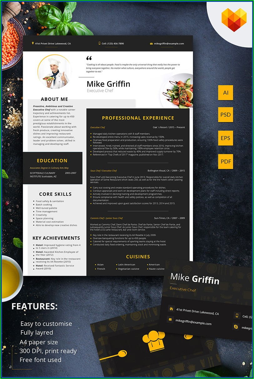 Executive Chef Cv Template