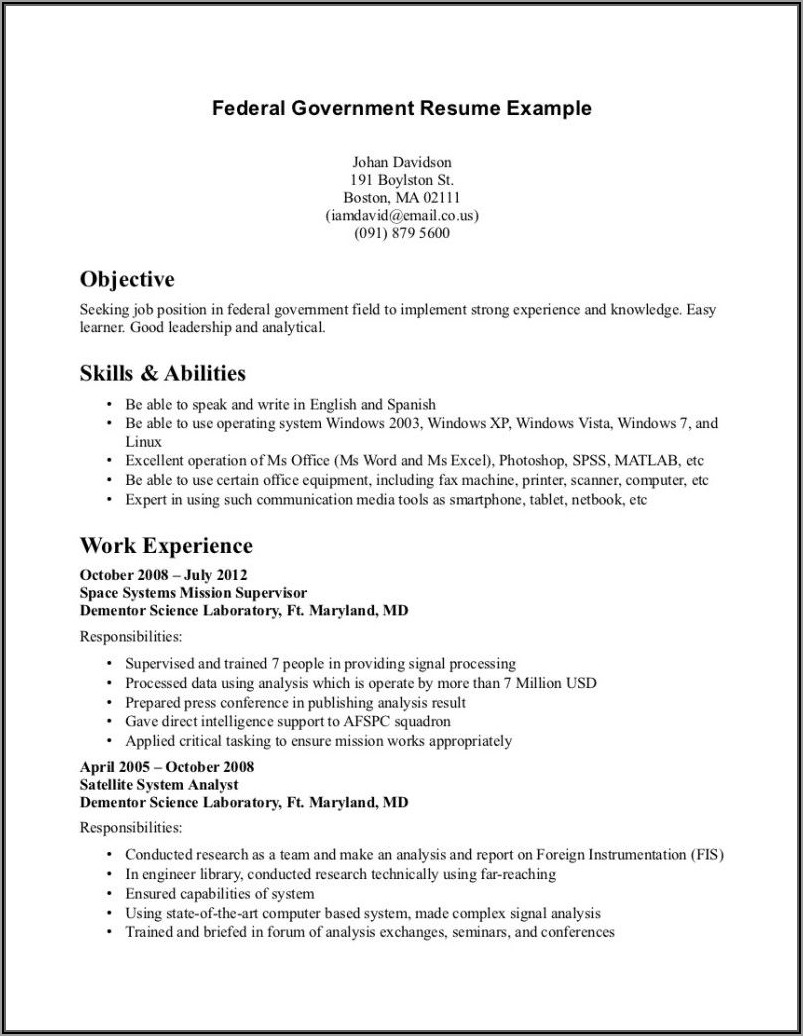 Federal Government Job Resume Writers