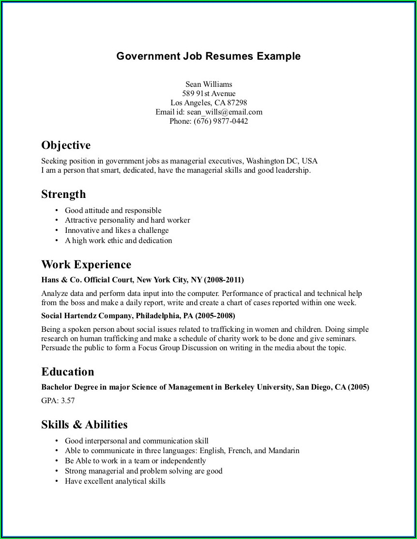 Federal Job Resume Help