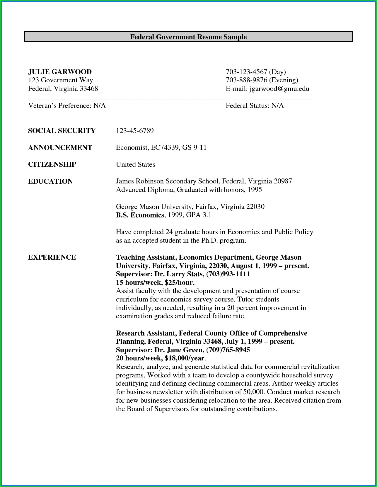 Federal Job Resume Writers