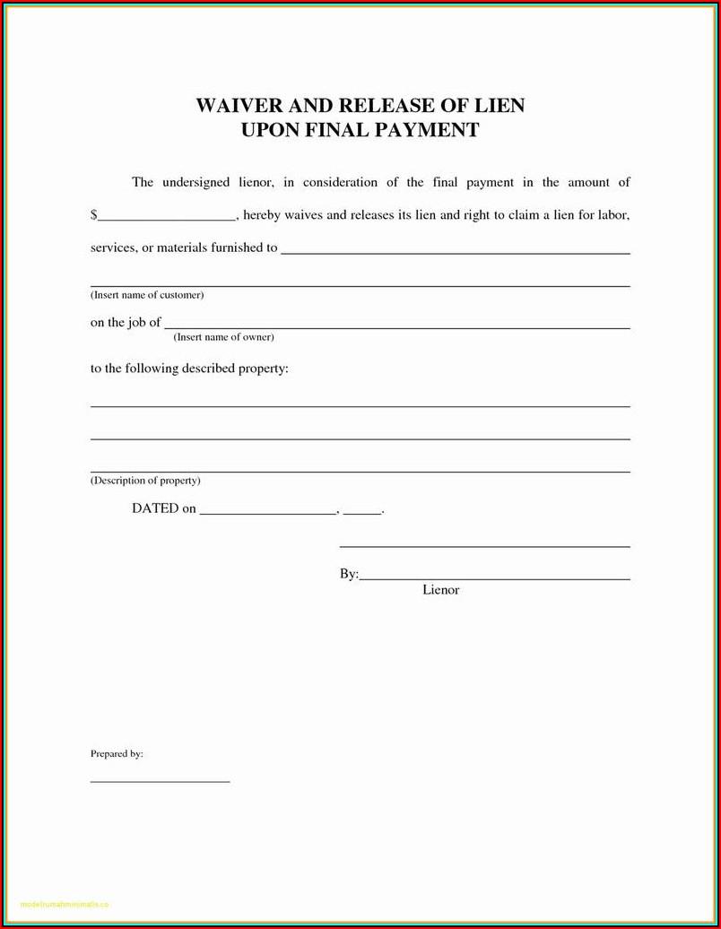 Final Lien Release Form Florida