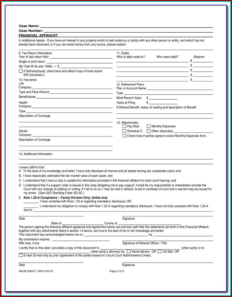 Financial Disclosure Affidavit Ny Form