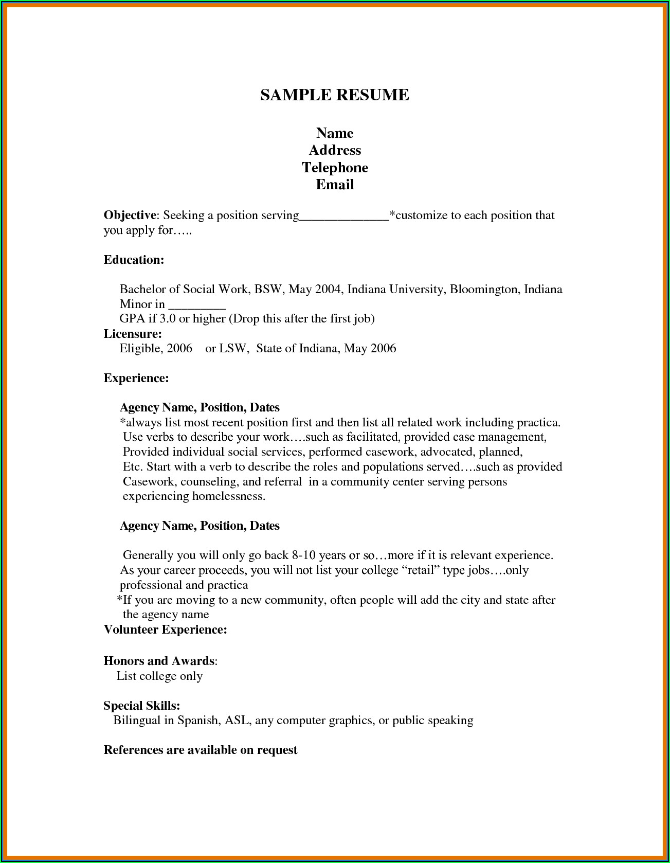 First Job Resume Template Download
