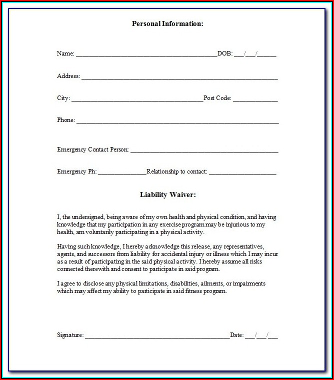 Fitness Waiver And Release Form Template