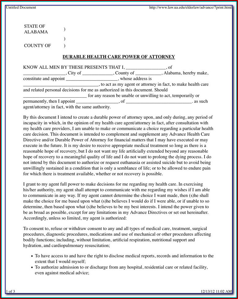 Florida Durable Power Of Attorney Form Florida Bar