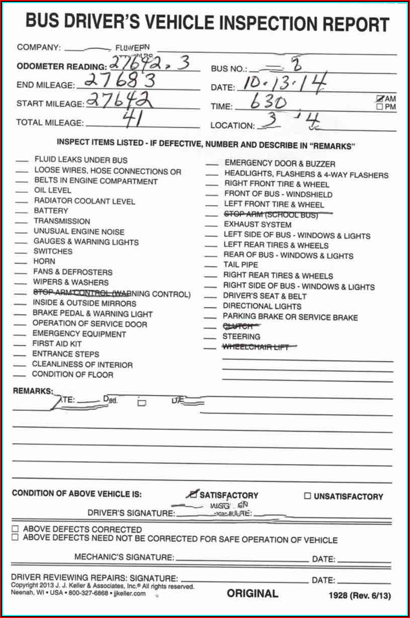 Fmcsa Post Trip Inspection Form