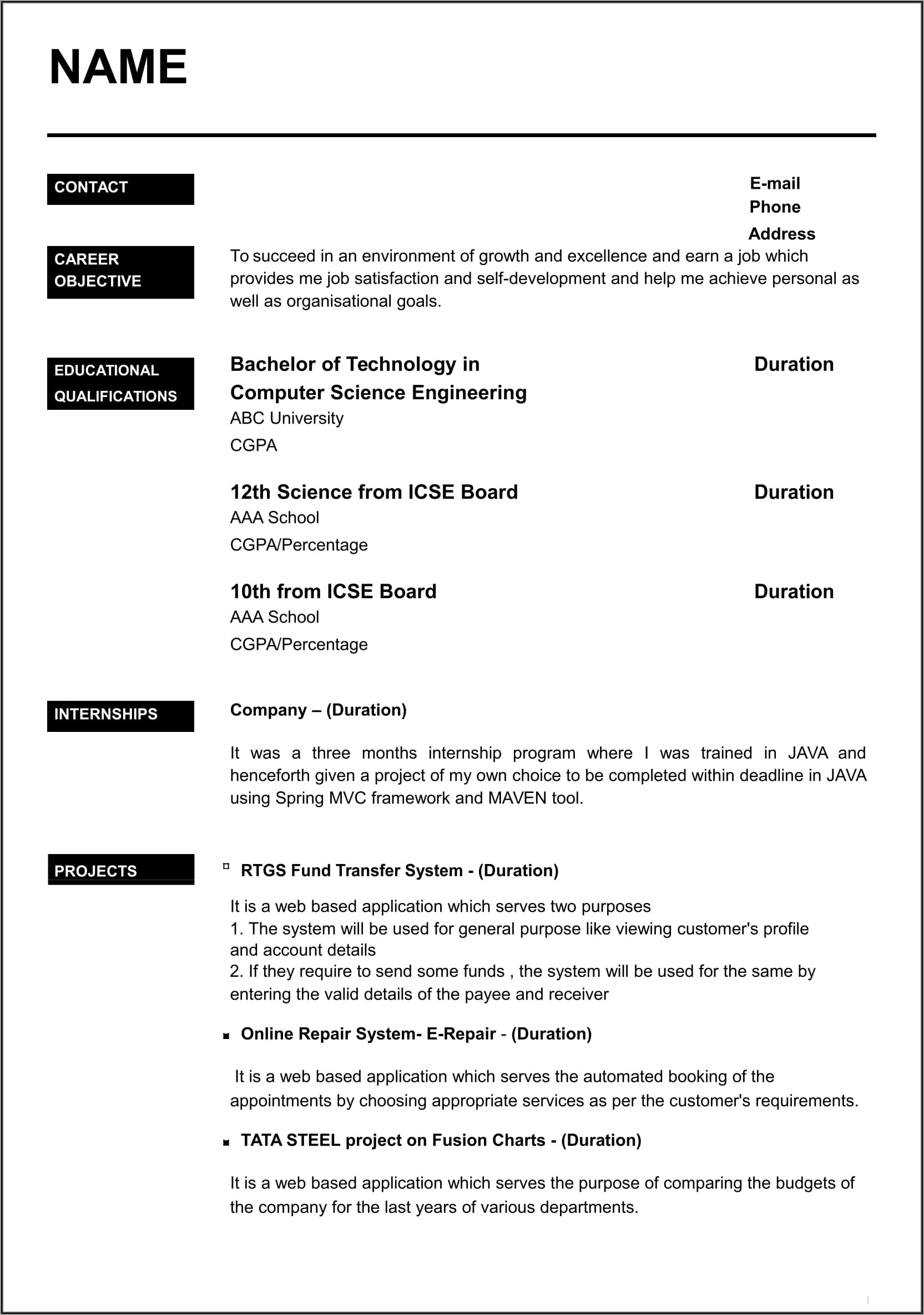 Format Of Resume Writing For Fresher