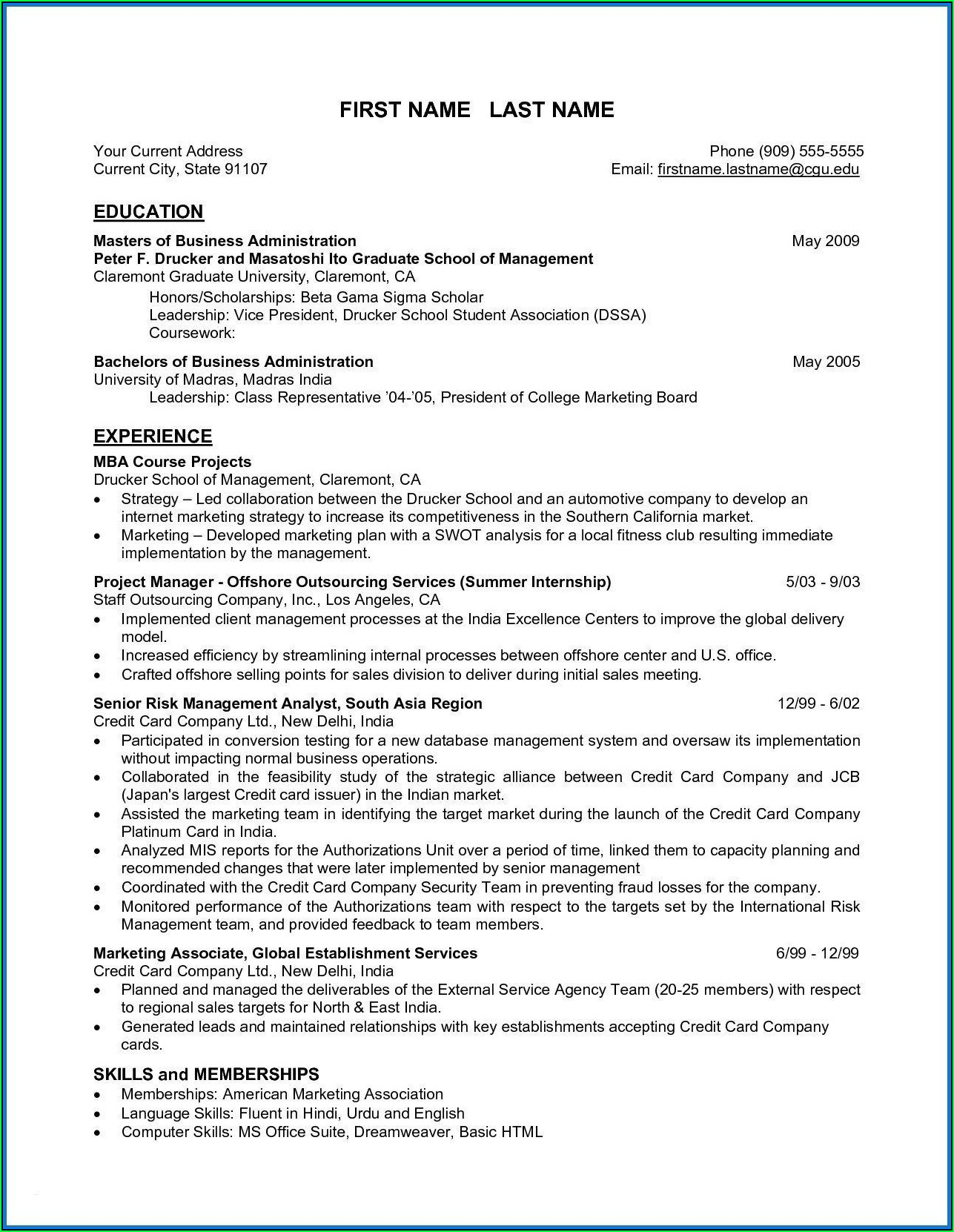 Free Business Administration Resume Template