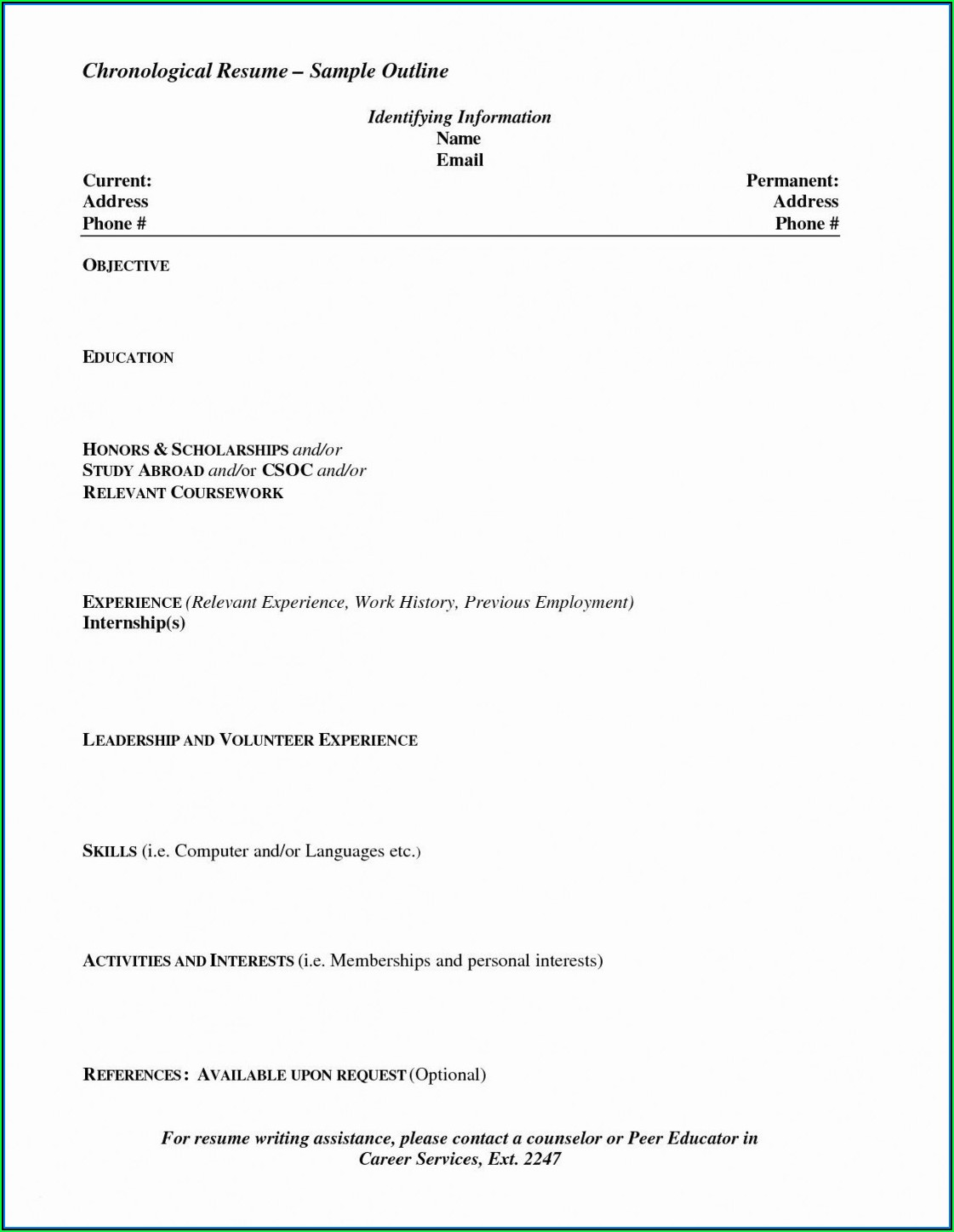 Free Chronological Resume Template Download