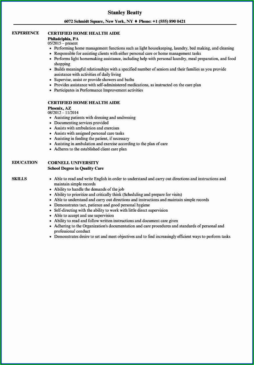 Free Cna Resume Examples