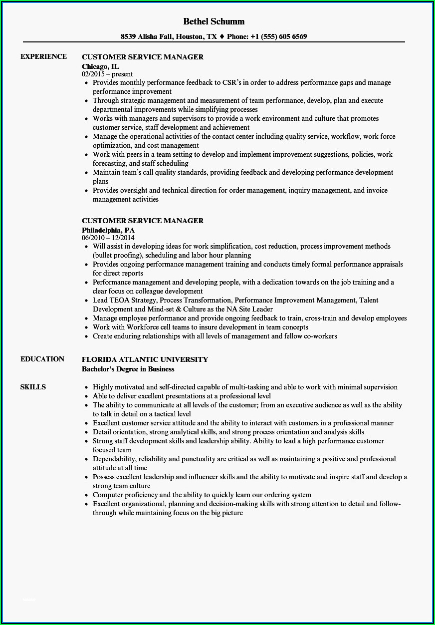 Free Customer Service Manager Resume Templates