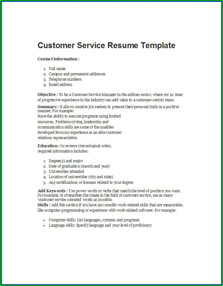 Free Customer Service Resume Template Downloads
