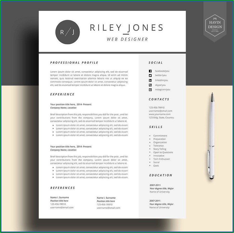 Free Cv Template Download For Mac