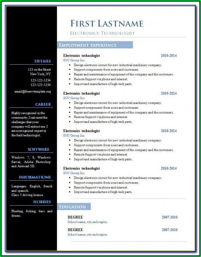 Free Download Sample Resume For Experienced In Word Format