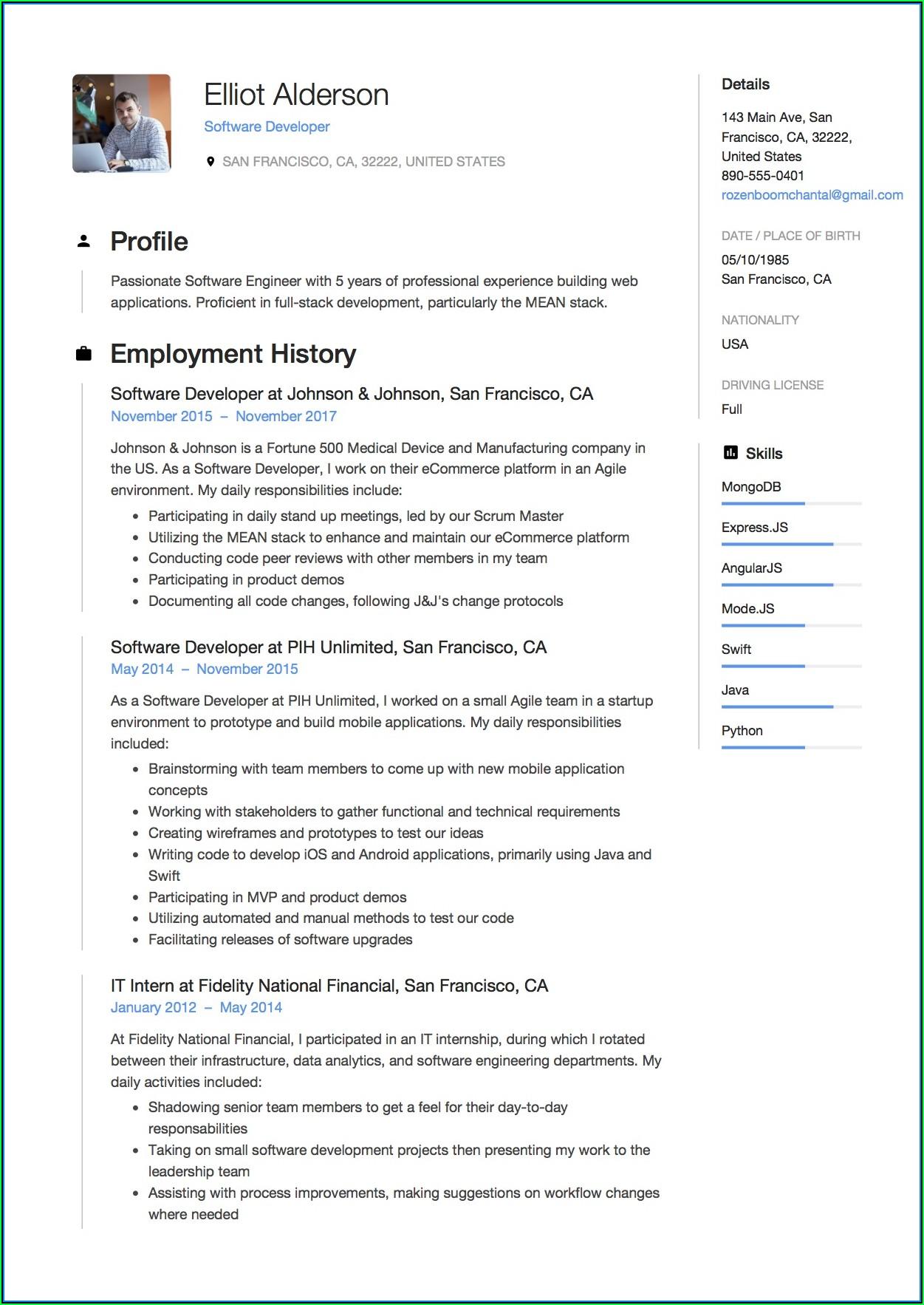 Free Download Sample Resume For Software Engineer