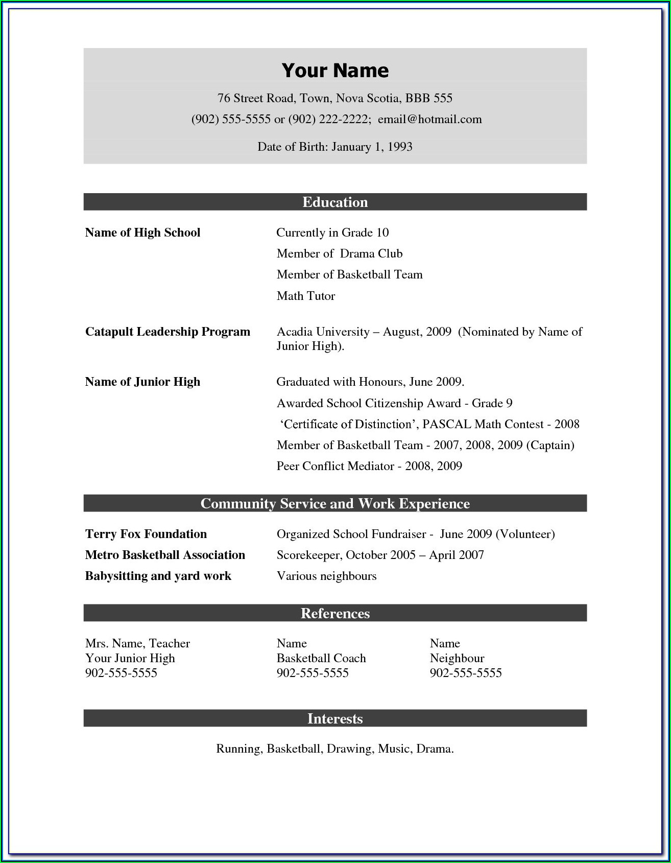 Free Download Sample Resume