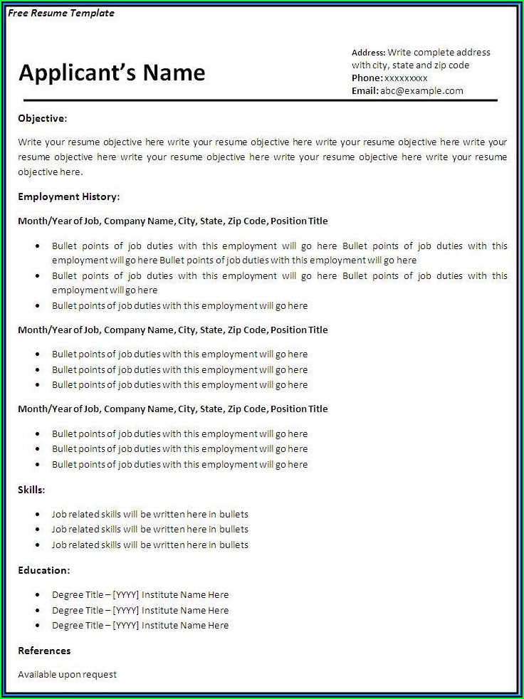 Free Downloadable Job Resume Templates