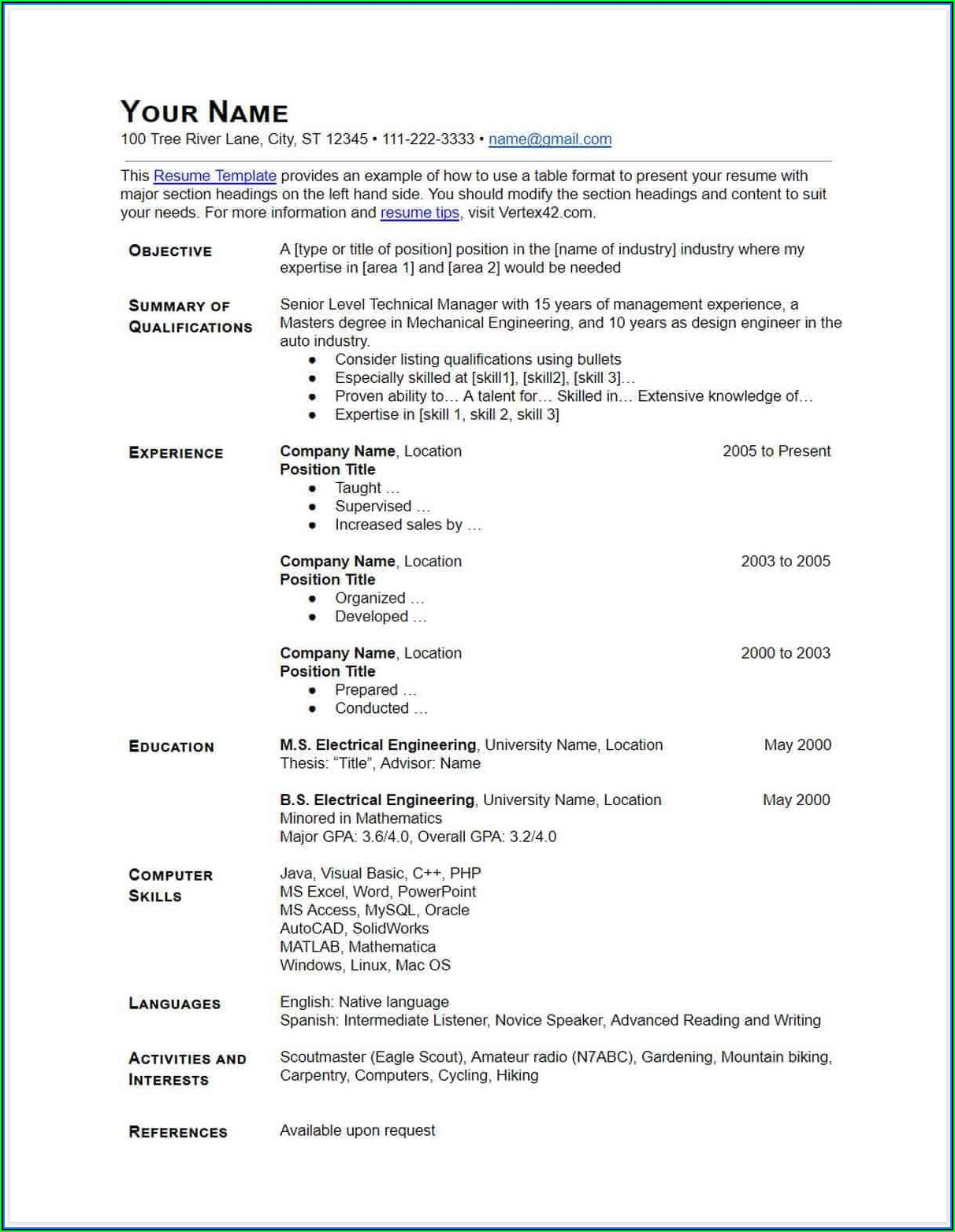 Free Downloadable Resume Templates Google Docs