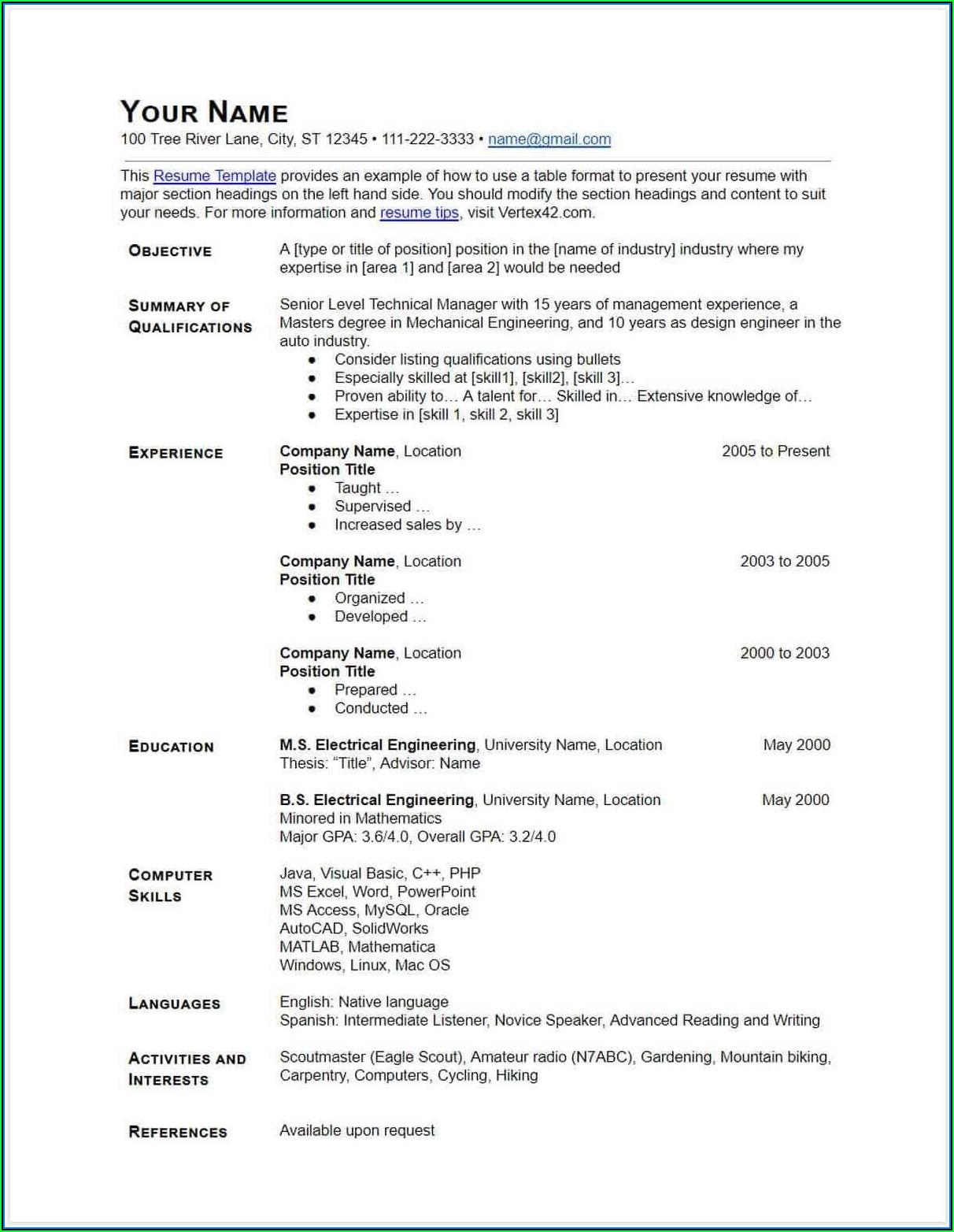 Free Downloadable Resume Templates Google Docs