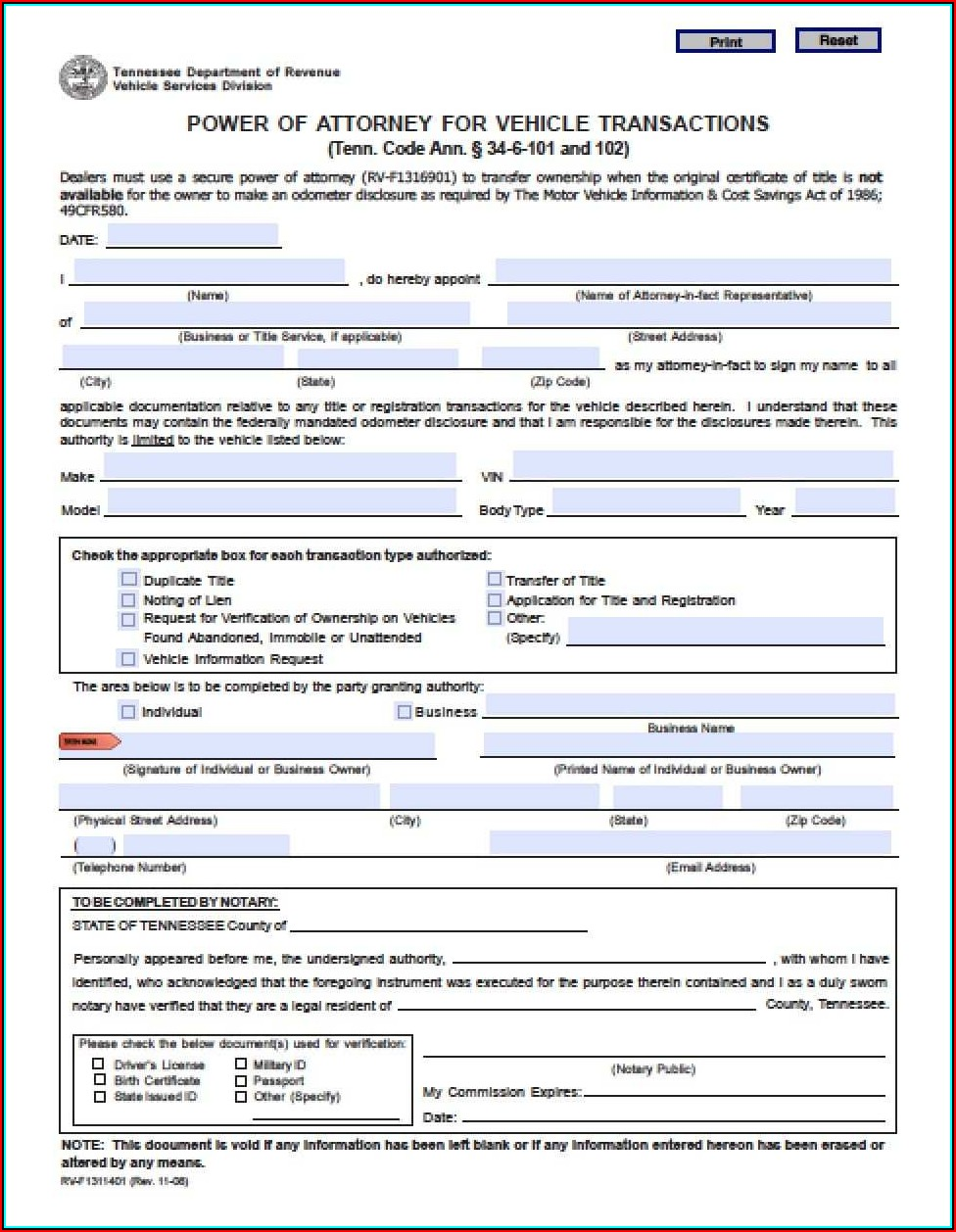 Free Durable Power Of Attorney Form To Print Tennessee