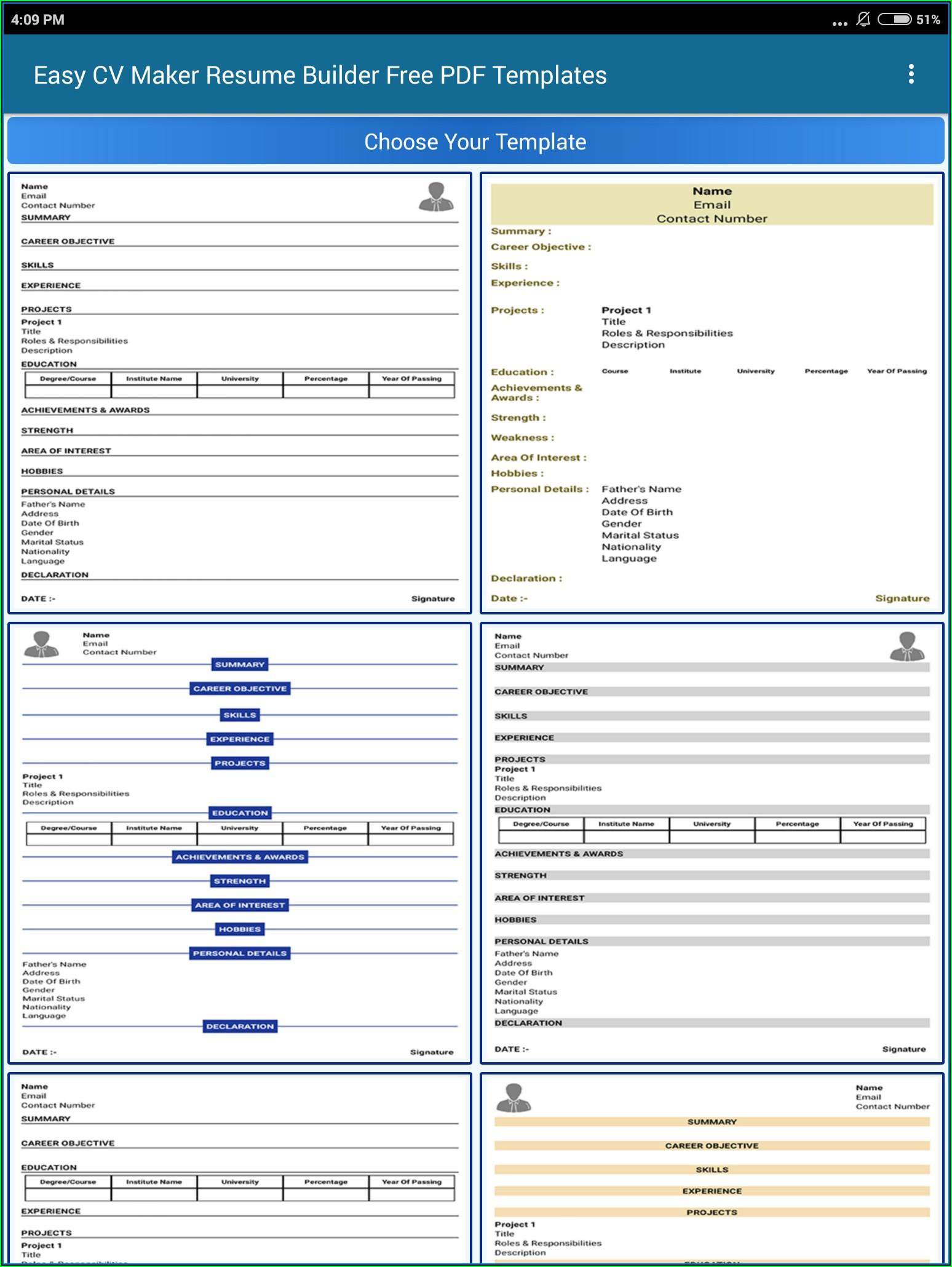 Free Easy Resume Builder Templates