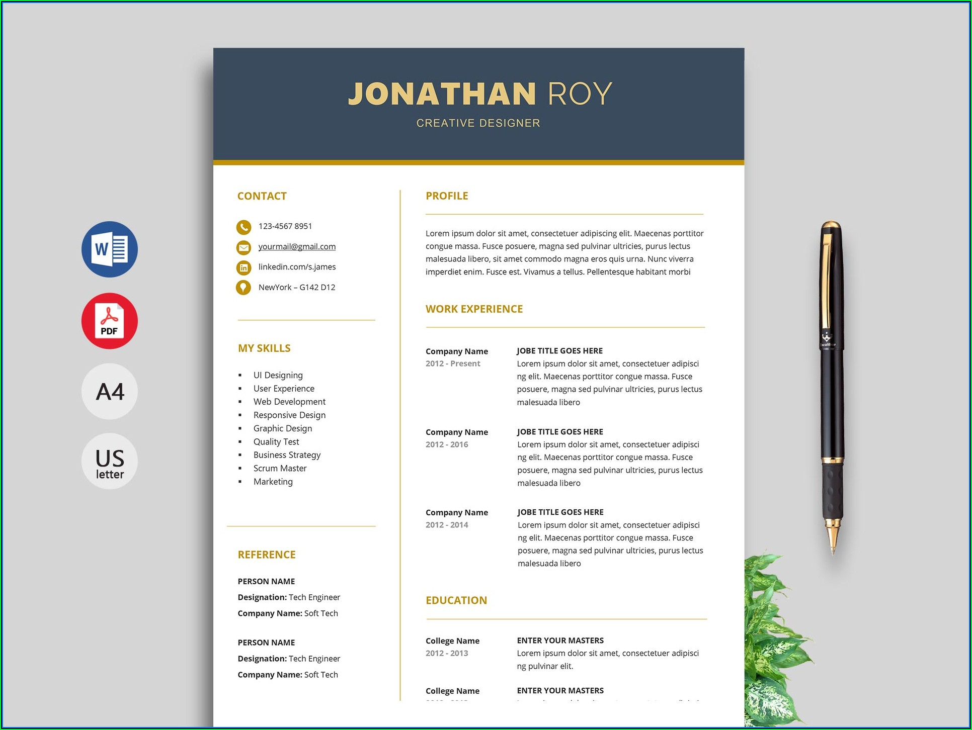 Free Easy To Use Cv Templates