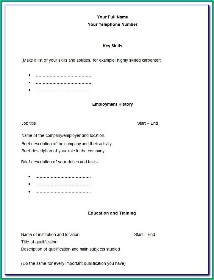 Free Empty Resume Templates